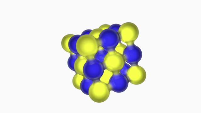 Animation of salt, NaCl, crystal lattice