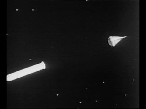 animation of separation of pioneer 4 probe from its rocket juno ii / probe moves toward moon passing through a target / from greatest headlines of... - 1959 stock-videos und b-roll-filmmaterial