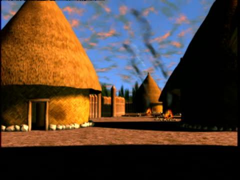 vídeos y material grabado en eventos de stock de animation of settlement in el dorado - techo de paja