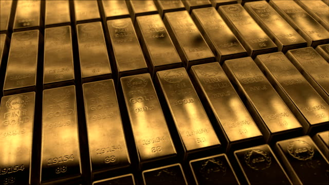 Animation of Sliding Gold Bars (Loopable)