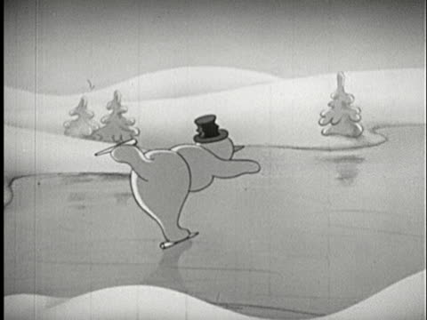 vídeos de stock, filmes e b-roll de 1945 b/w ts animation of snow man ice skating on frozen lake then falling under broken ice  - buraco