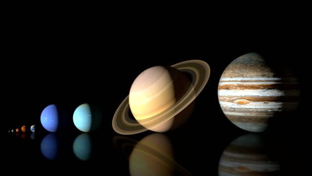 animation of solar system planets, real size comparsion - loop 4k - oversized stock videos & royalty-free footage