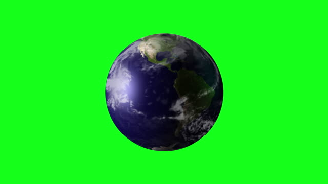 4K Animation of Spinning Earth on Green Screen BG