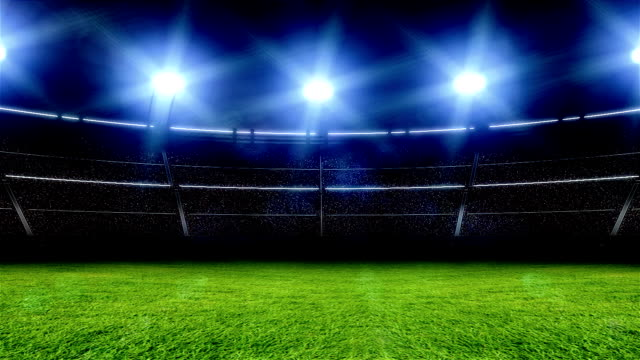 animation of stadium with lights and flashes - football pitch stock videos & royalty-free footage