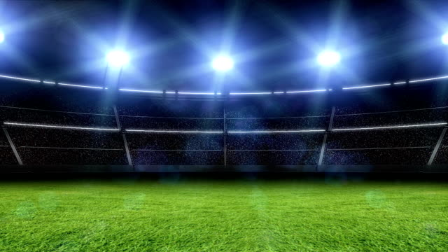 vídeos de stock, filmes e b-roll de 3d do estádio com luzes e flashes - bola
