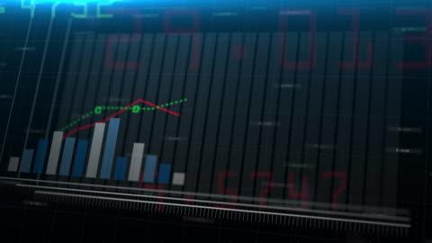 vidéos et rushes de animation 3d de l'information boursière de graphique à barres bleues en hausse suivant la flèche. chiffres financiers et diagrammes de plus en plus sur le fond numérique. marchés financiers - pas de gens - risque