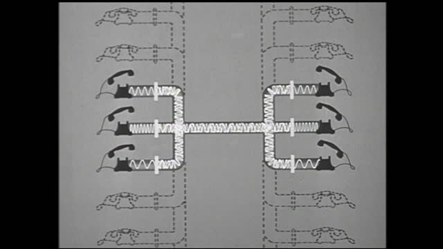 animation of telephones being connected and signals transmitted through cable; telephones being picked up and more telephones and cables appear in... - 1940 1949 bildbanksvideor och videomaterial från bakom kulisserna