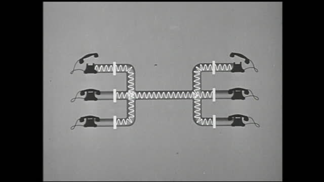 animation of telephones being connected and signals transmitted through cable - 1940 1949 stock videos & royalty-free footage