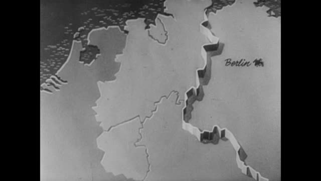 stockvideo's en b-roll-footage met animation of the berlin blockade and the route of the airlift from wiesbaden to berlin - 1948