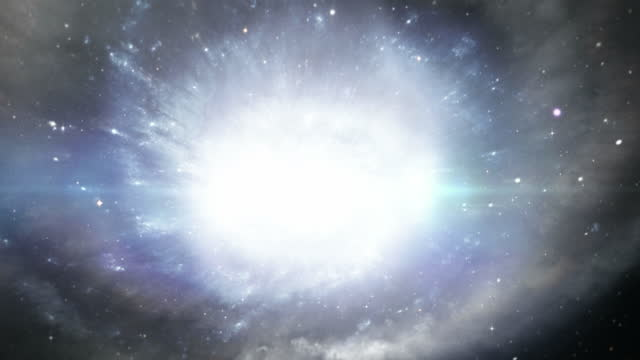 animation of the big bang an the inflation of the universe ending on a galaxy - wop productions stock-videos und b-roll-filmmaterial