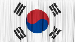 3D animation of the National flag of South Korea as the curtain