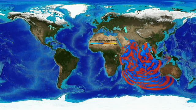 vídeos de stock, filmes e b-roll de animation of the wave heights of the 2004 indian ocean tsunami. - oceano índico
