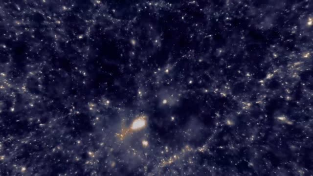 Animation of traveling through space past galaxies