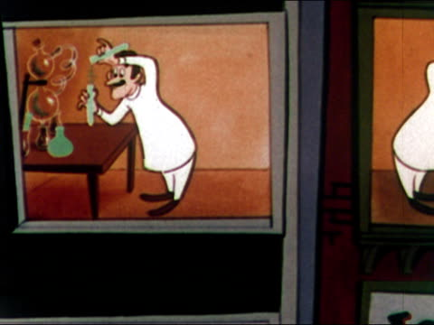 1949 animation of two chemists in adjoining labs competing to be the first to create successful formula for hosiery / audio - 化学点の映像素材/bロール