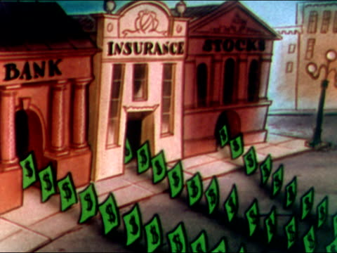 1949 Animation of US dollars marching out of bank, insurance building, and stock exchange onto street / audio