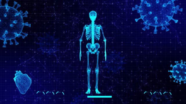 animation of user interface hud with body analysis and dna moving on dark background for cyber futuristic concept with grain processed - human skeleton stock videos & royalty-free footage