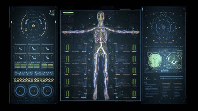 animation of user interface hud with body analysis and dna moving on dark background for cyber futuristic concept with grain processed - medical supplies stock videos & royalty-free footage