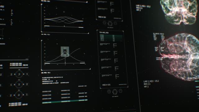 animazione dell'interfaccia utente hud con analisi cerebrale su sfondo scuro per il concetto cyber futuristico con grano lavorato. - microscopio elettronico a scansione video stock e b–roll