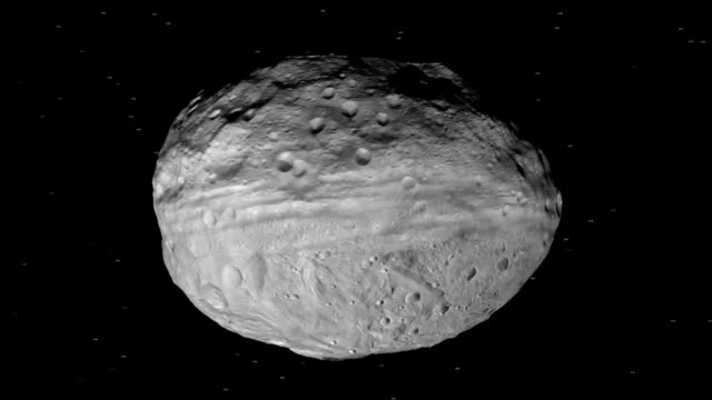 animation of vesta asteroid taken by the dawn spacecraft from orbit. vesta is the second most massive object in the asteroid belt - 小惑星点の映像素材/bロール
