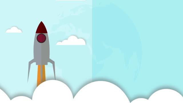 animation von vintage-rakete nach raum über wolken fliegen. - stapellauf stock-videos und b-roll-filmmaterial