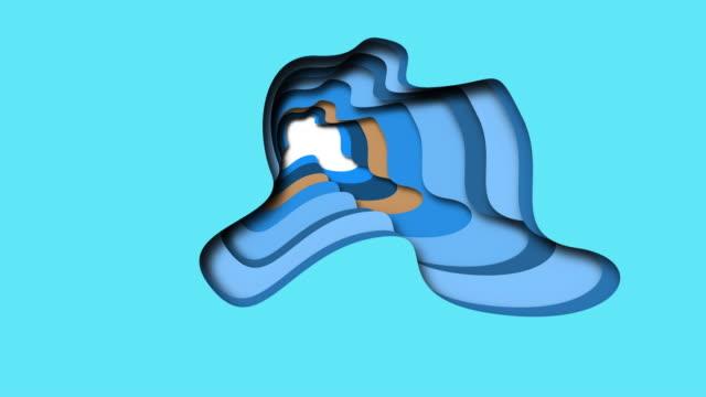 vidéos et rushes de fond de coupe de papier d'animation - formes abstraites bleues d'onde - conception 3d à la mode - couches superposées