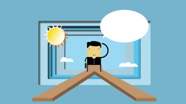vidéos et rushes de papier d'animation couper concept de décision d'entreprise - être perdu