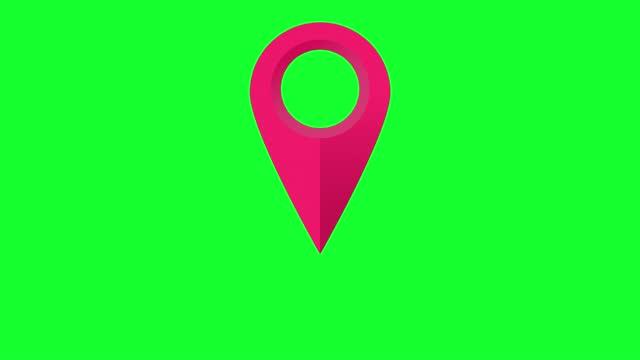 stockvideo's en b-roll-footage met animation pin location pointer. symbol pointing map navigator. - hd format