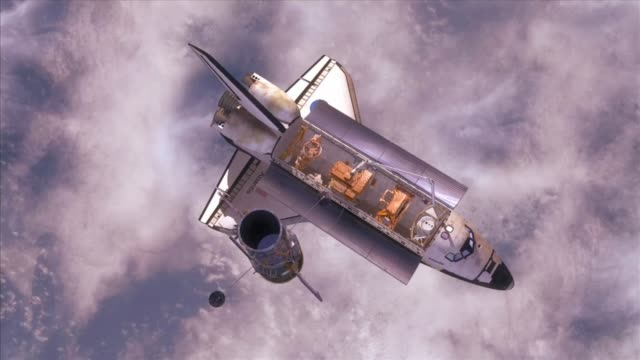 Animation showing the Hubble Space Telescope detaching from Space Shuttle Atlantis after it's final repair mission number 4 / Hubble floating in space