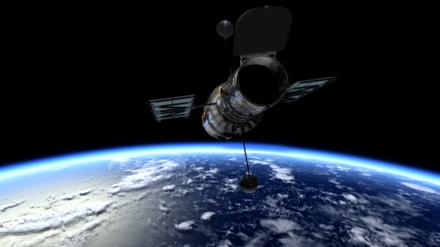 3d animation showing the hubble space telescope over the earth - satellite video stock e b–roll