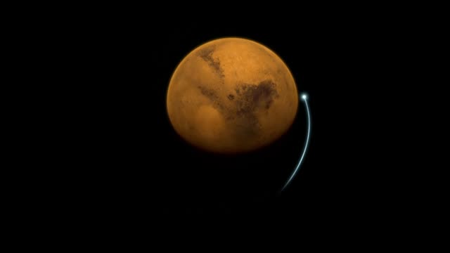 vidéos et rushes de animation showing the maven spacecraft in orbit around mars, as well as maven's overall orbit trajectory. - en orbite autour
