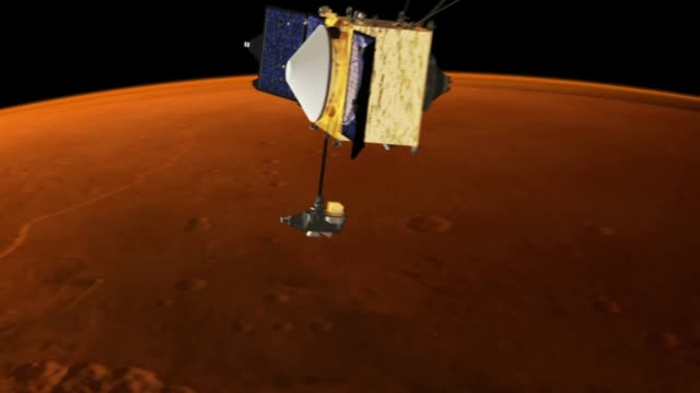 animation showing the maven spacecraft in orbit around mars as well as maven's overall orbit trajectory - orbiting stock videos & royalty-free footage