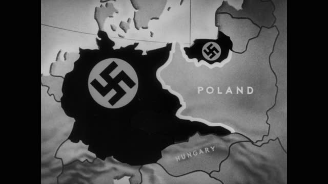 vidéos et rushes de animation shows poland surrounded on all sides by germany and her allies explaining how a nazi invasion will unfold on the country - pologne