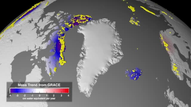 / animation shows the location of mountain glaciers and ice caps around the world with data from the GRACE mission to show recent trends in ice mass...