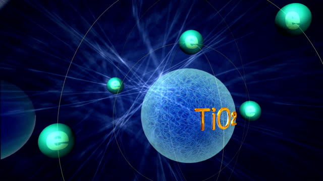 3D animation simulation of electronic transition of titanium dioxide