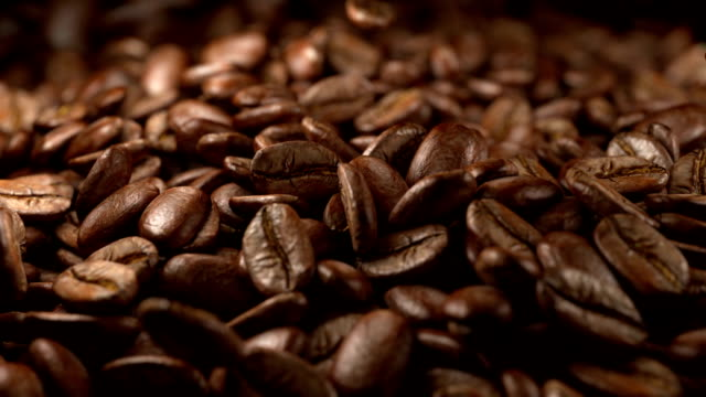 animation video of falling coffee beans in slow motion - bean stock videos & royalty-free footage