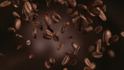 Animation video of falling coffee beans-loopable background in 4K