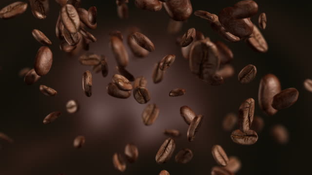 animation video of falling coffee beans-loopable background in 4k - still life stock videos and b-roll footage