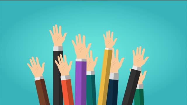 vídeos y material grabado en eventos de stock de video de animación de grupo de personas con las manos en contra y saludando con las palmas hacia arriba. voluntariado, justicia social, caridad, donación, educación, concepto de formación empresarial. el video tiene una resolución 4k. - voting