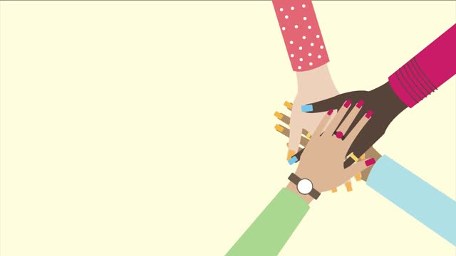 vídeos de stock e filmes b-roll de animation video of hands of diverse ethnic group of people putting together. concept of community, support, teamwork, social movement, friendship. the video is matte- finish video, 4k resolution - eastern european culture