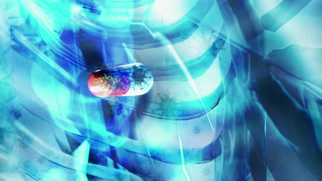 animation wide shot zoom in x-ray image of man putting pill in mouth and swallowing with liquid/ zoom in close up pan capsule moving down into stomach and bursting open/ molecules of pill floating around amidst bursts of light and moving virus shapes - medikament stock-videos und b-roll-filmmaterial