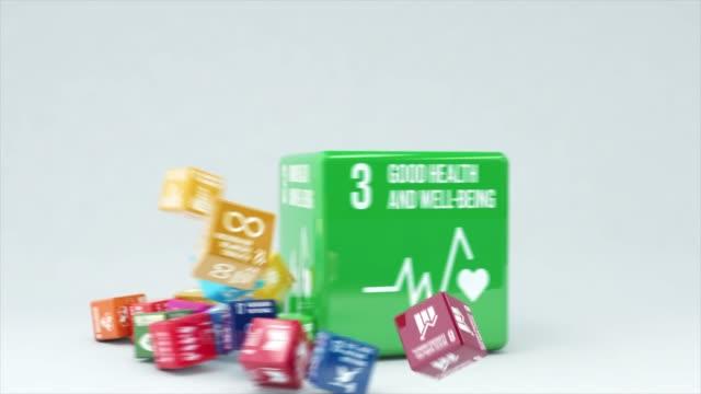 vídeos y material grabado en eventos de stock de animación 3d con caja buena salud y bienestar - naciones unidas