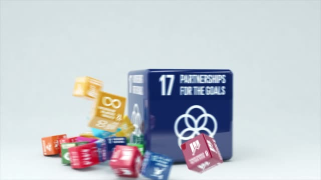 vídeos de stock e filmes b-roll de 3d animation with box partnership for the goals - fim