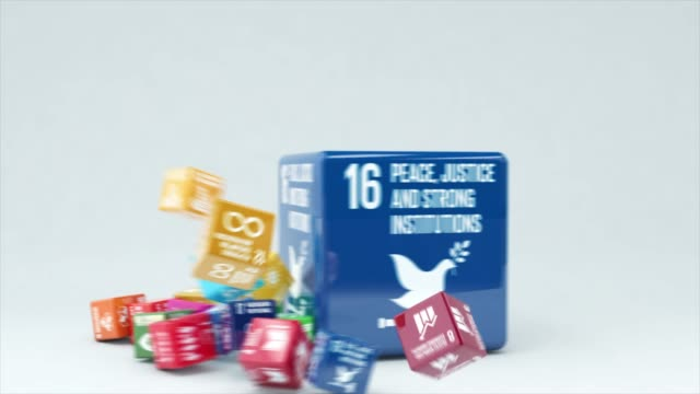 3d animation with box peace justice and strong institutions - united nations stock videos & royalty-free footage