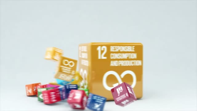 vídeos de stock e filmes b-roll de 3d animation with box responsible consumption and production - sustainable resources
