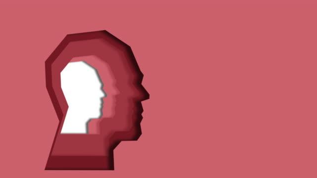 vidéos et rushes de animation avec couches découpées profil humain en papier coloré. pensée créative, complexité du concept de la nature humaine. tête de papier de l'homme ou de la femme dans les couleurs pastel - couches superposées