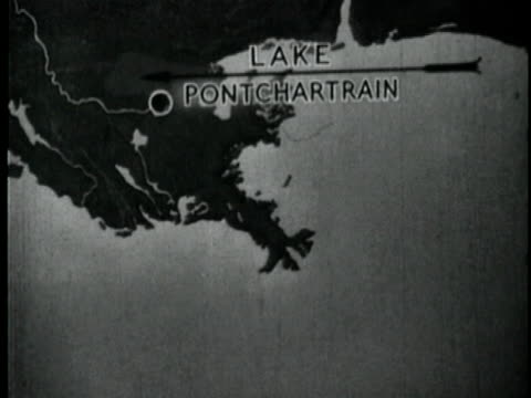 1929 B/W Animation with map showing New Orleans and Lake Pontchartrain Louisiana USA