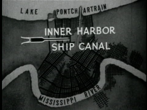 1929 b/w animation with map showing new orleans inner harbor ship canal louisiana usa - 1920 1929 video stock e b–roll