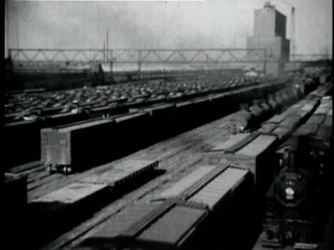 vídeos y material grabado en eventos de stock de 1929 b/w montage animation with map showing railroads leading to new orleans and trains louisiana usa - tren de carga