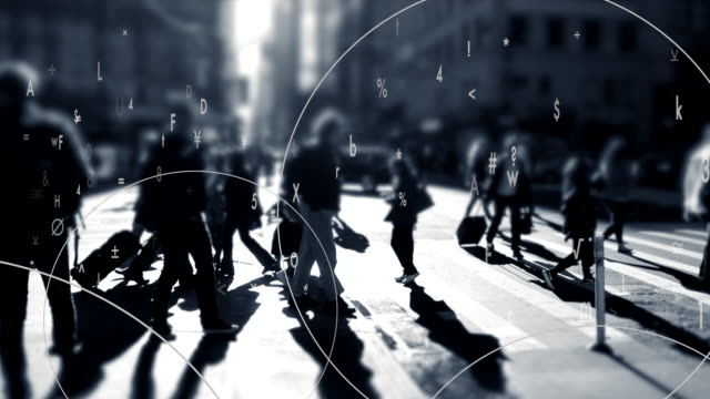 animation with numbers and letters over city background. symbolizing global communication, connected world, big data, surveillance and international business. - big data点の映像素材/bロール