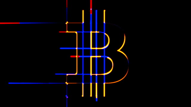 3 animations in 1 Bitcoin sign emerging from random lines